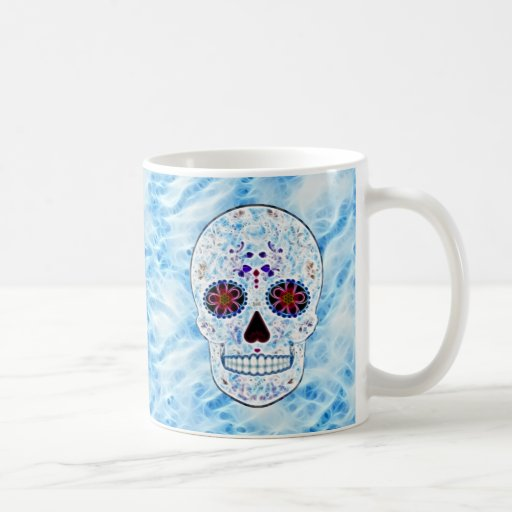 Day of the Dead Sugar Skull - Baby Blue Fractal Mugs
