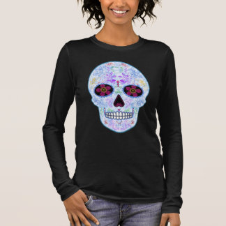 Day of the Dead Sugar Skull - Baby Blue & Multi Long Sleeve T-Shirt