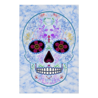 Day of the Dead Sugar Skull - Baby Blue & Multi Poster
