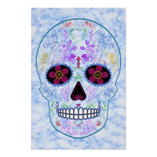 Day of the Dead Sugar Skull - Baby Blue & Multi Posters