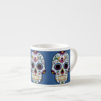 Day of the Dead Sugar Skull Blue Espresso Cup