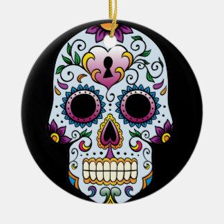 Day of the Dead Sugar Skull Blue Ornament Round