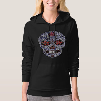 Day of the Dead Sugar Skull - Blue & Red Hoodie
