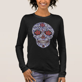 Day of the Dead Sugar Skull - Blue & Red Long Sleeve T-Shirt
