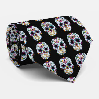 Day of the Dead Sugar Skull Blue Tie