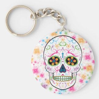 Day of the Dead Sugar Skull - Bright Multi Color Basic Round Button Key Ring