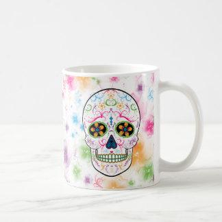 Day of the Dead Sugar Skull - Bright Multi Color Basic White Mug