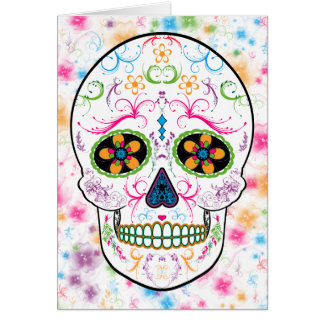 Day of the Dead Sugar Skull - Bright Multi Color Card