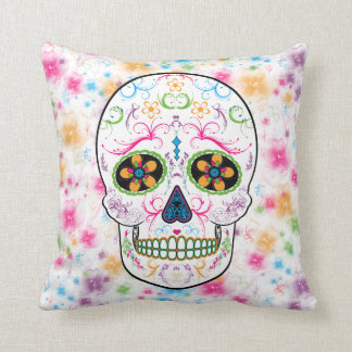 Day of the Dead Sugar Skull - Bright Multi Color Cushion