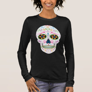 Day of the Dead Sugar Skull - Bright Multi Color Long Sleeve T-Shirt