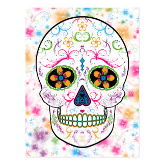 Day of the Dead Sugar Skull - Bright Multi Color Postcard