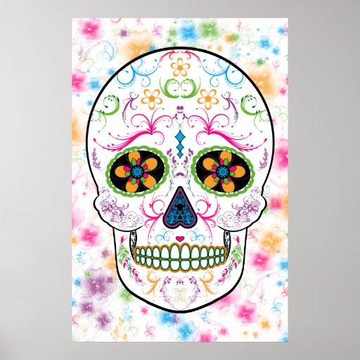 Day of the Dead Sugar Skull - Bright Multi Color Poster