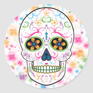 Day of the Dead Sugar Skull - Bright Multi Color Round Sticker