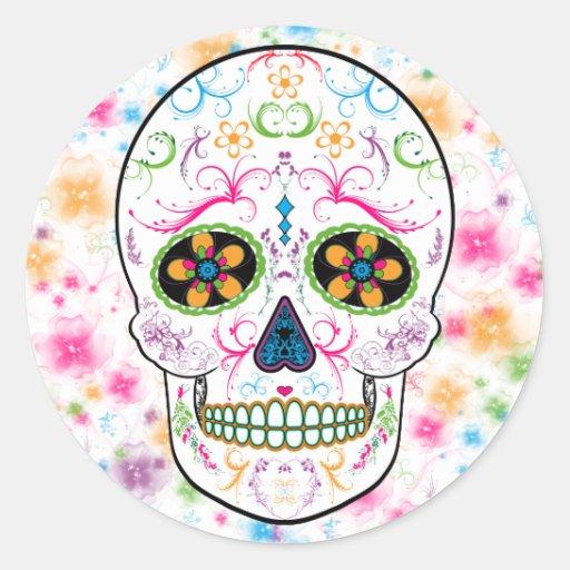 Day of the Dead Sugar Skull - Bright Multi Color Round Stickers