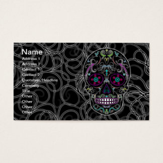 Day of the Dead Sugar Skull - Colorfully Black Business Card