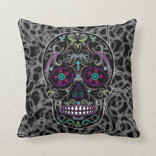 Day of the Dead Sugar Skull - Colorfully Black Throw Pillows