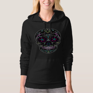 Day of the Dead Sugar Skull - Colorfully Black Hooded Pullovers