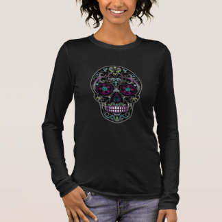 Day of the Dead Sugar Skull - Colorfully Black Long Sleeve T-Shirt