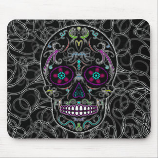 Day of the Dead Sugar Skull - Colorfully Black Mouse Mat
