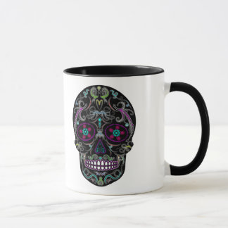 Day of the Dead Sugar Skull - Colorfully Black Mug