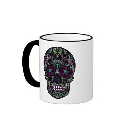 Day of the Dead Sugar Skull - Colorfully Black Coffee Mug