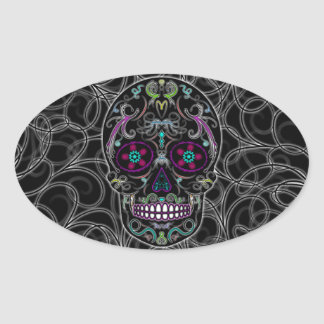 Day of the Dead Sugar Skull - Colorfully Black Oval Sticker
