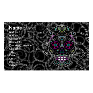 Day of the Dead Sugar Skull - Colorfully Black Pack Of Standard Business Cards