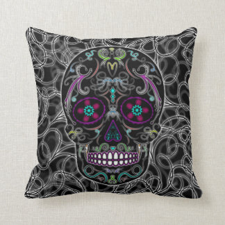Day of the Dead Sugar Skull - Colorfully Black Throw Pillow