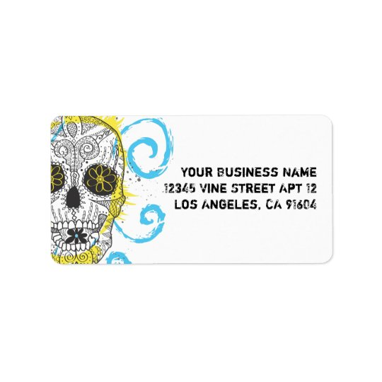 Day of The Dead Sugar Skull Comic Tattoo Design Address Label