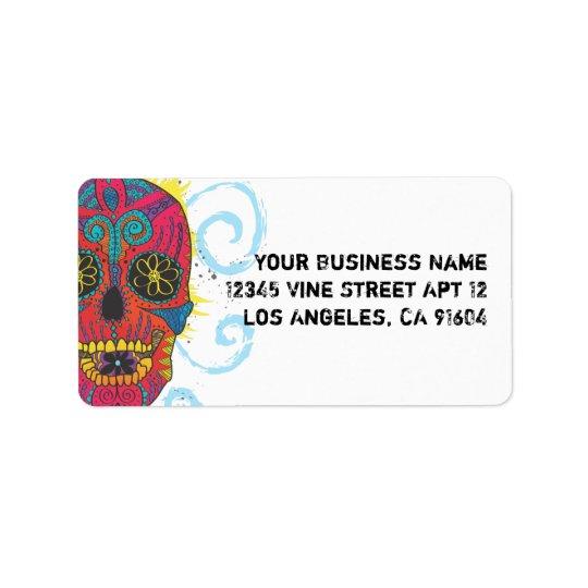 Day of The Dead Sugar Skull Comic Tattoo Design Label