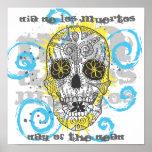 Day of The Dead Sugar Skull Comic Tattoo Design Poster