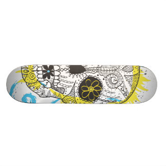 Day of The Dead Sugar Skull Comic Tattoo Design Skate Board Deck