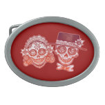 Day of the Dead Sugar Skull Couple Belt Buckle