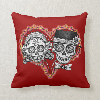 Day of the Dead Sugar Skull Couple Pillow
