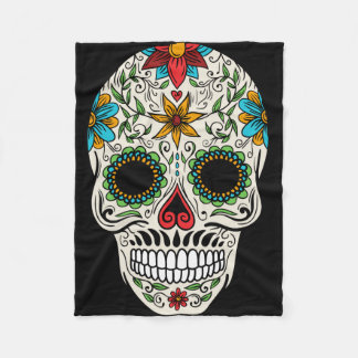 Day of the Dead Sugar Skull Fleece Blanket