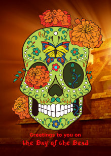 Day of the dead cards zazzle uk day of the dead sugar skull flowers with pyramid card m4hsunfo
