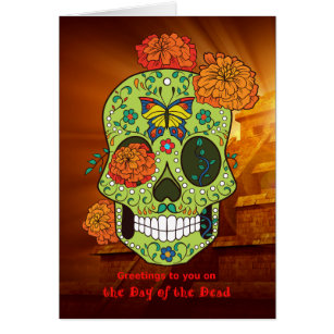 Skull day dead greeting cards zazzle uk day of the dead sugar skull flowers with pyramid card m4hsunfo