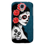 Day of the Dead Sugar Skull Girl - blue Samsung Galaxy S4 Cover
