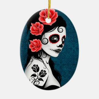 Day of the Dead Sugar Skull Girl - blue Christmas Ornament