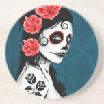 Day of the Dead Sugar Skull Girl - blue Drink Coasters