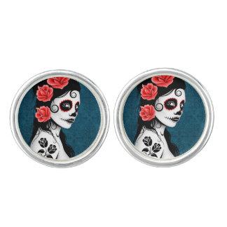 Day of the Dead Sugar Skull Girl Blue Cufflinks