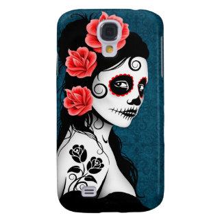 Day of the Dead Sugar Skull Girl - blue Galaxy S4 Case