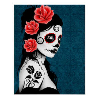 Day of the Dead Sugar Skull Girl - Blue Poster