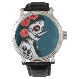 Day of the Dead Sugar Skull Girl - Blue Watch