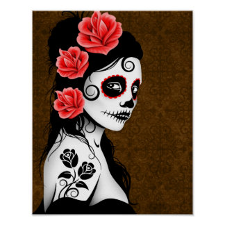 Day of the Dead Sugar Skull Girl - Brown Posters