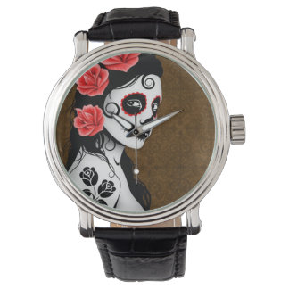 Day of the Dead Sugar Skull Girl - Brown Watch