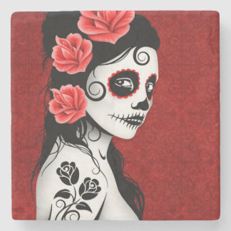 Day of the Dead Sugar Skull Girl Deep Red Stone Coaster
