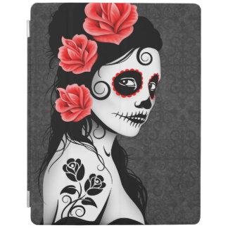 Day of the Dead Sugar Skull Girl Gray iPad Cover