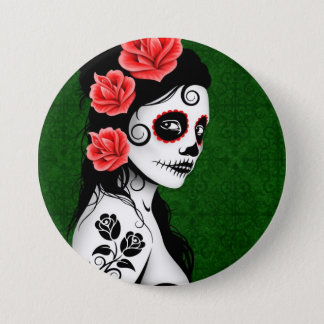 Day of the Dead Sugar Skull Girl - green 7.5 Cm Round Badge