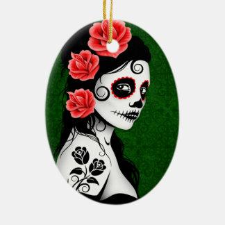Day of the Dead Sugar Skull Girl - green Christmas Ornament
